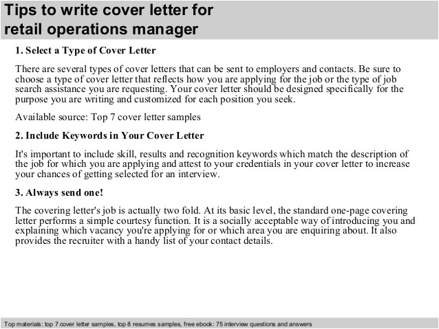Cover Letter for Operations Coordinator Retail Operations Manager Cover Letter