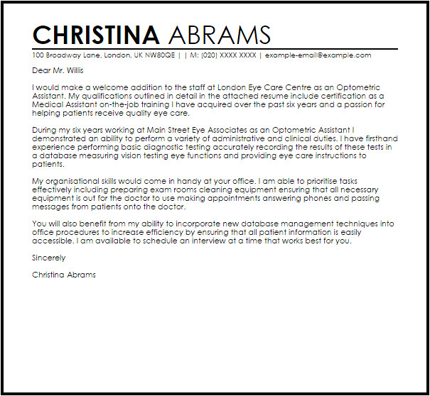 Cover Letter for Optometric assistant Optometric assistant Cover Letter Sample Cover Letter