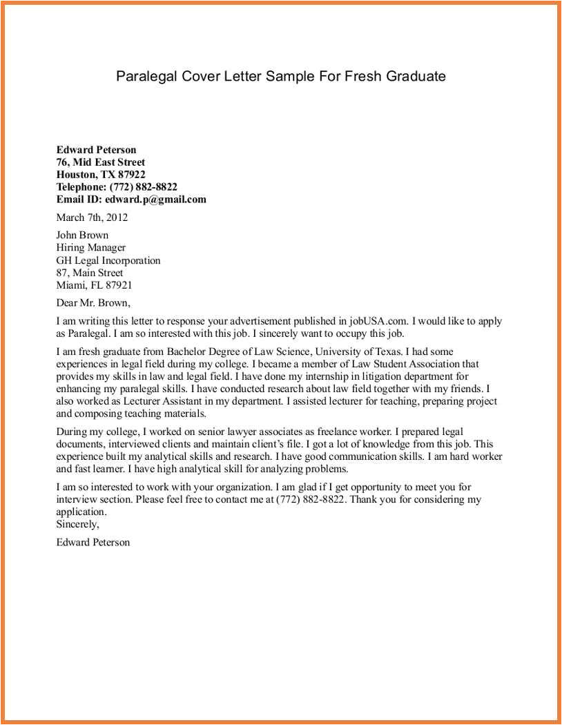 paralegal cover letter no experience sample