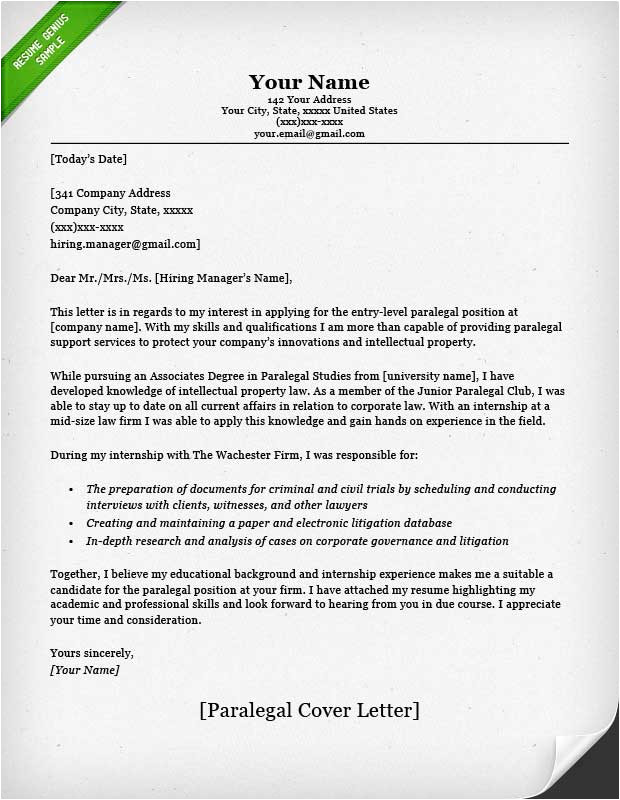 Cover Letter for Paralegal with No Experience Paralegal Cover Letter Sample Resume Genius