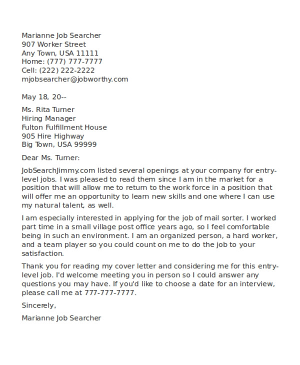 part time job cover letters