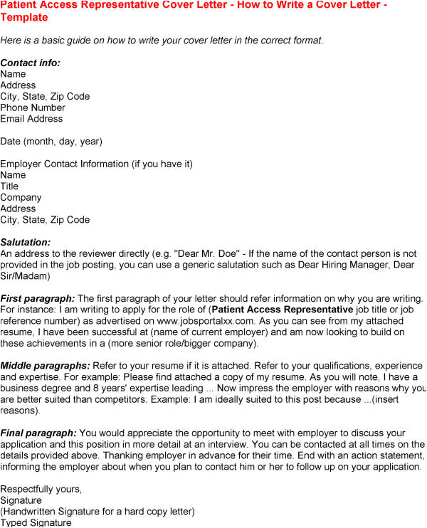 patient access representative resume sample