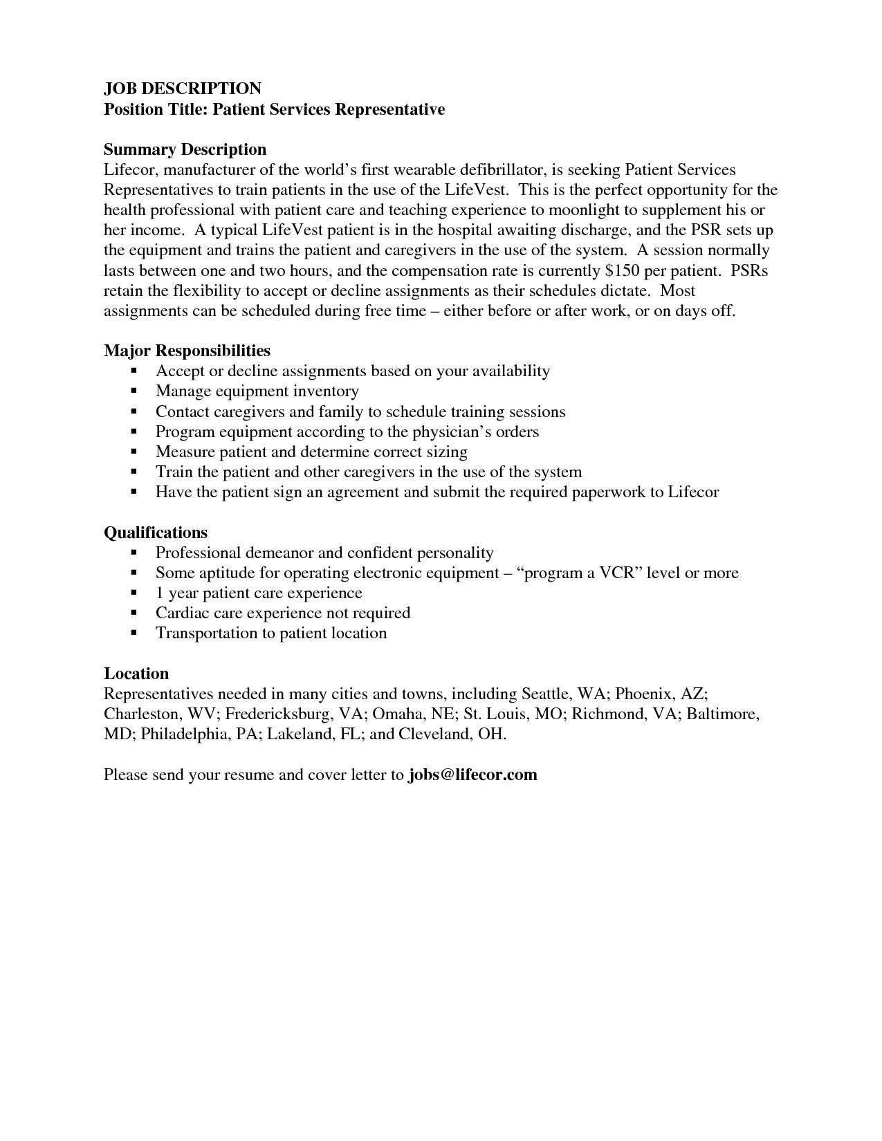 patient financial representative resume