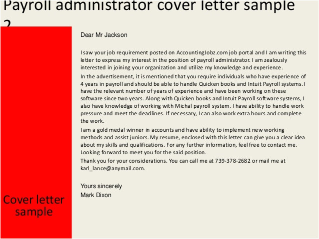 Cover Letter for Payroll Administrator Payroll Administrator Cover Letter