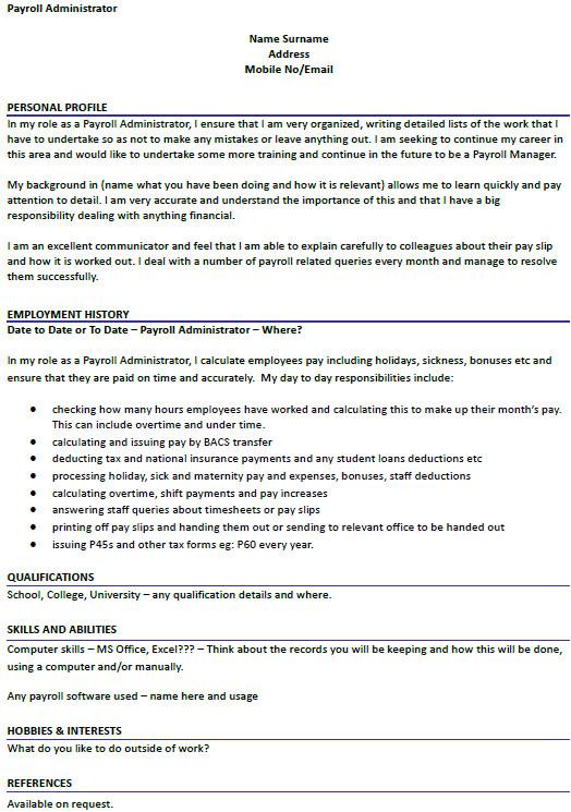 payroll administrator cv example
