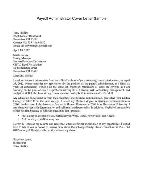 payroll cover letter
