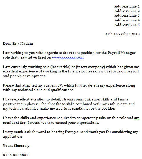 payroll manager cover letter example