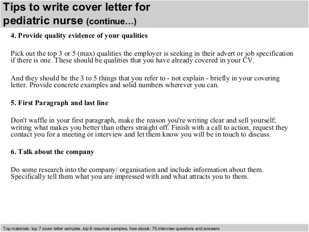 pediatric nurse cover letter