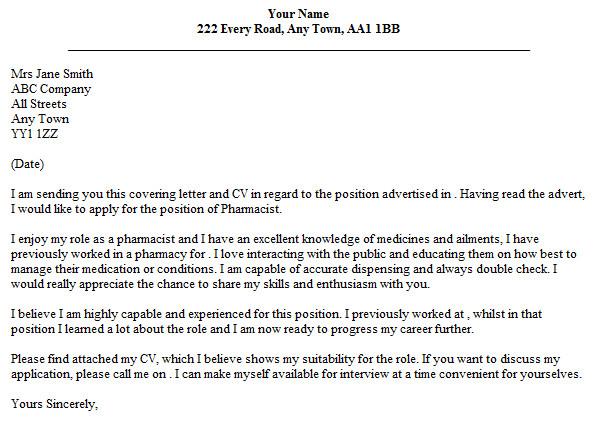 Cover Letter for Pharmacist Position Pharmacist Cover Letter Example Lettercv Com