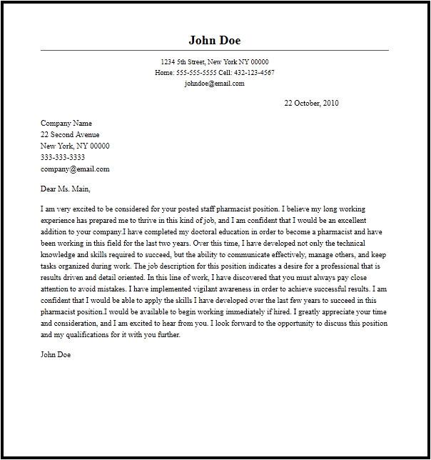 Cover Letter for Pharmacist Position Professional Staff Pharmacist Cover Letter Sample