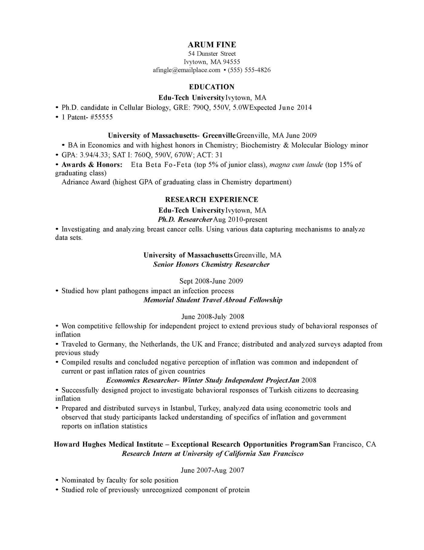 cover letter sample latex