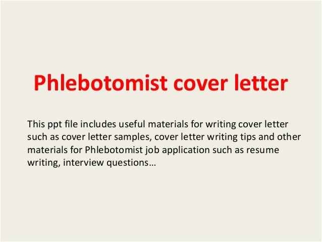 Cover Letter for Phlebotomy Job Phlebotomist Cover Letter