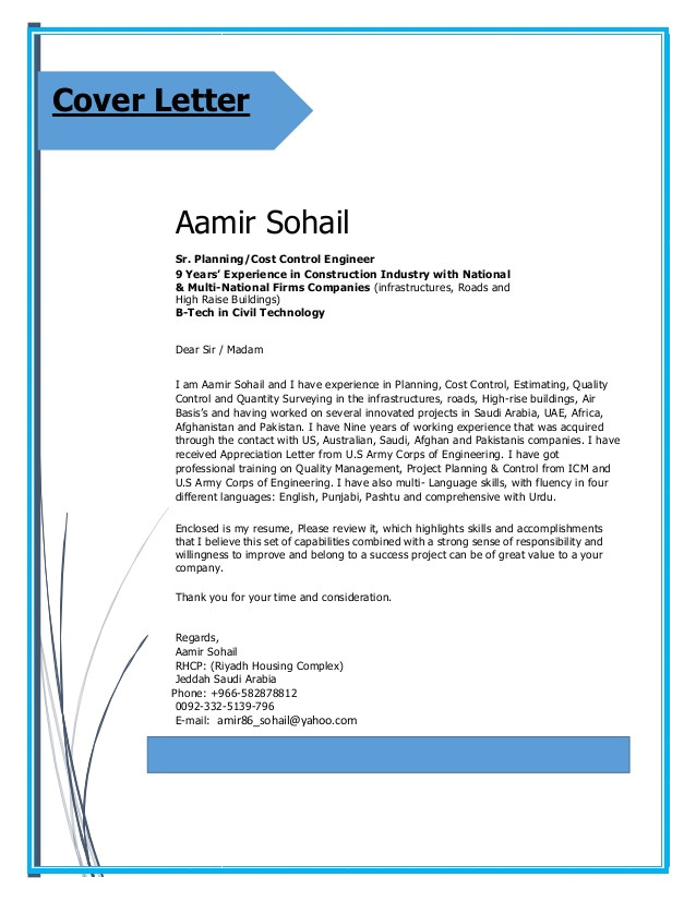 Cover Letter for Planning Engineer Aamir Cv Planning Engineer