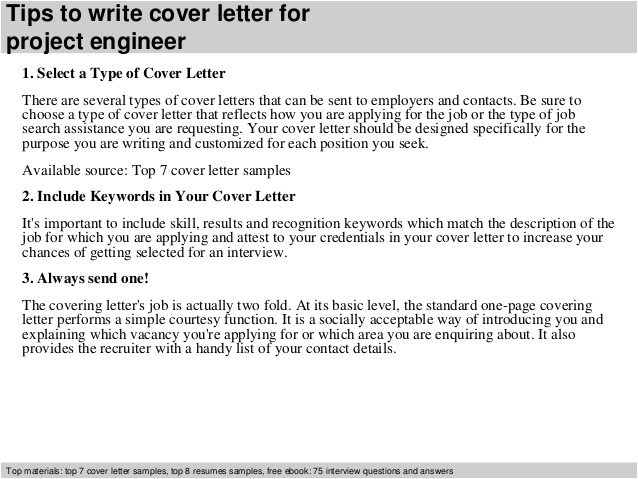 Cover Letter for Planning Engineer Project Engineer Cover Letter