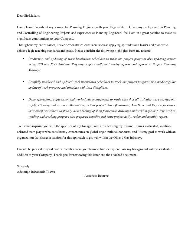 tunde adekunjo cover letter planning engineer