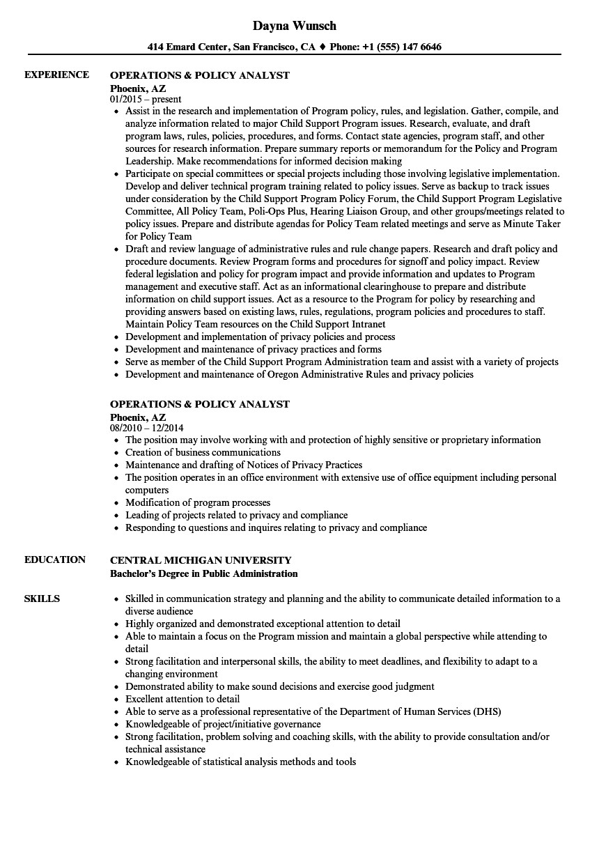 operations policy analyst resume sample