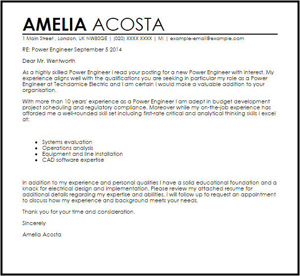 Cover Letter for Power Engineer Power Engineer Cover Letter Sample Cover Letter