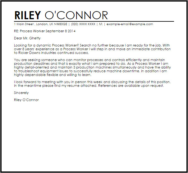 Cover Letter for Process Worker Process Worker Cover Letter Sample Cover Letter