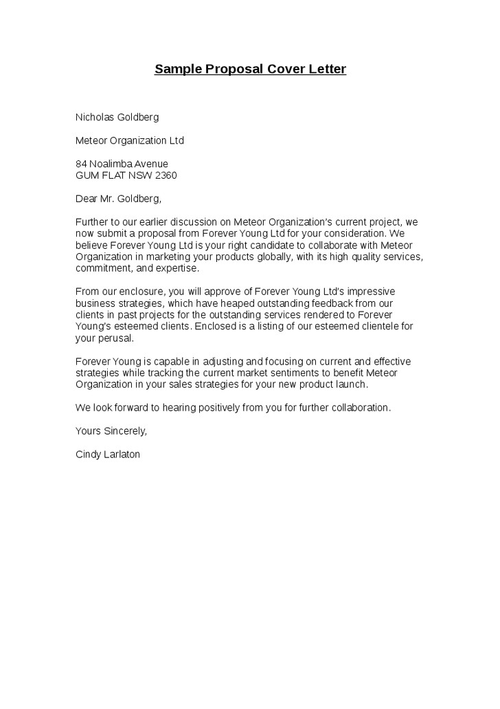 Cover Letter for Project Proposal Submission Cover Letter for Proposal Submission the Letter Sample