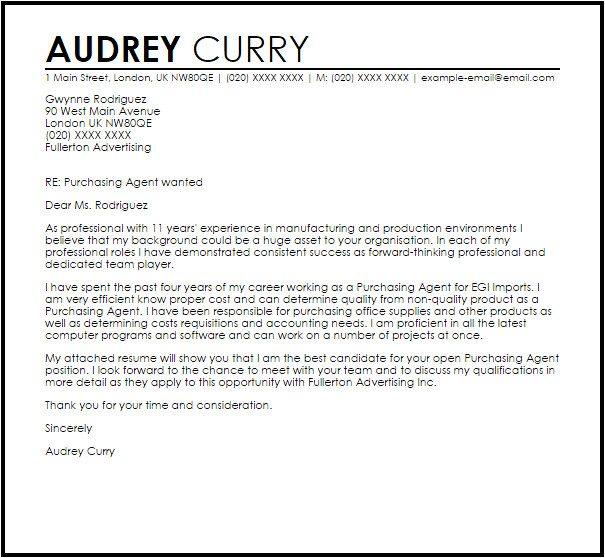 Cover Letter for Purchasing Manager Purchasing Agent Cover Letter Sample Cover Letter