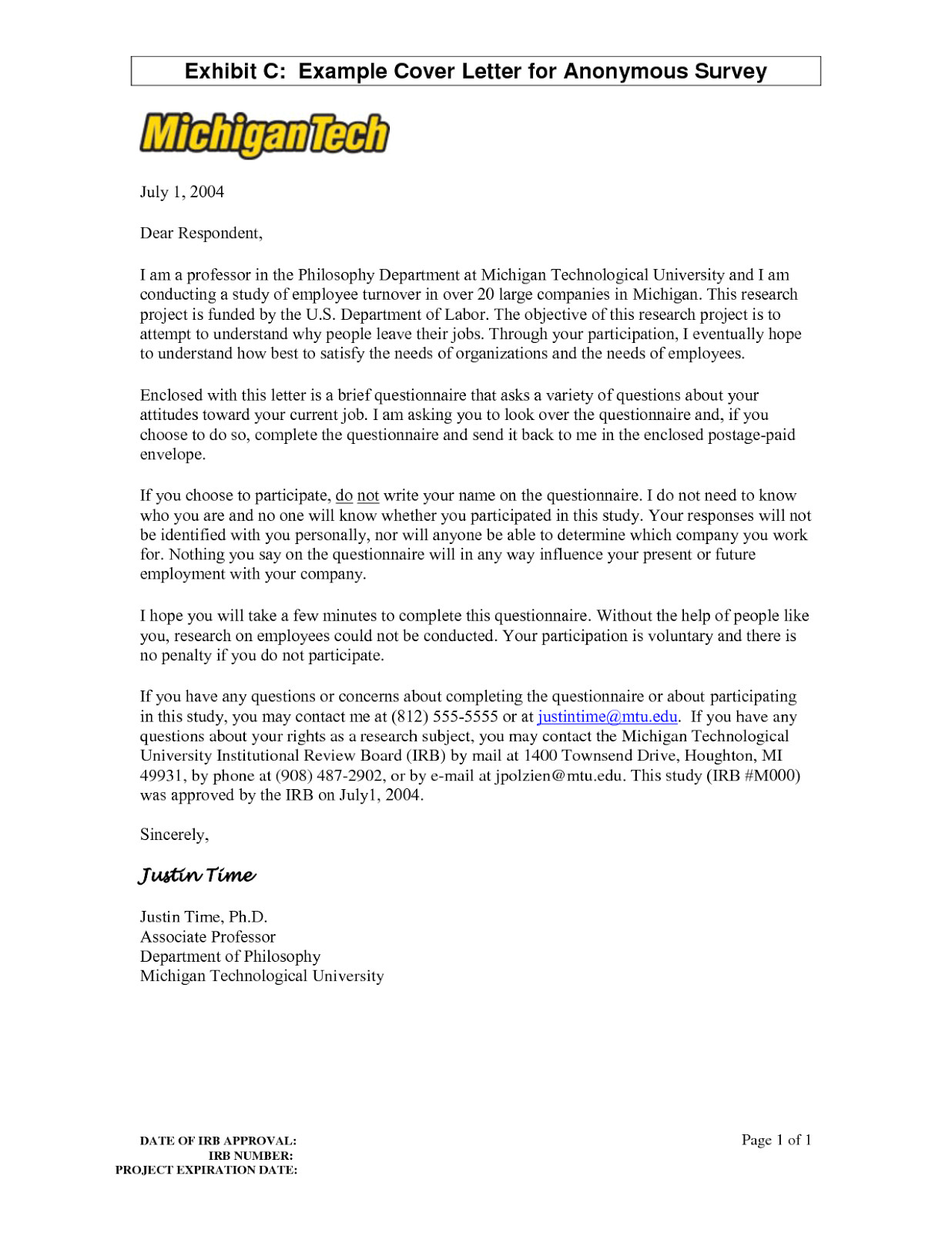 Cover Letter for Questionnaire Surveys Cover Letter
