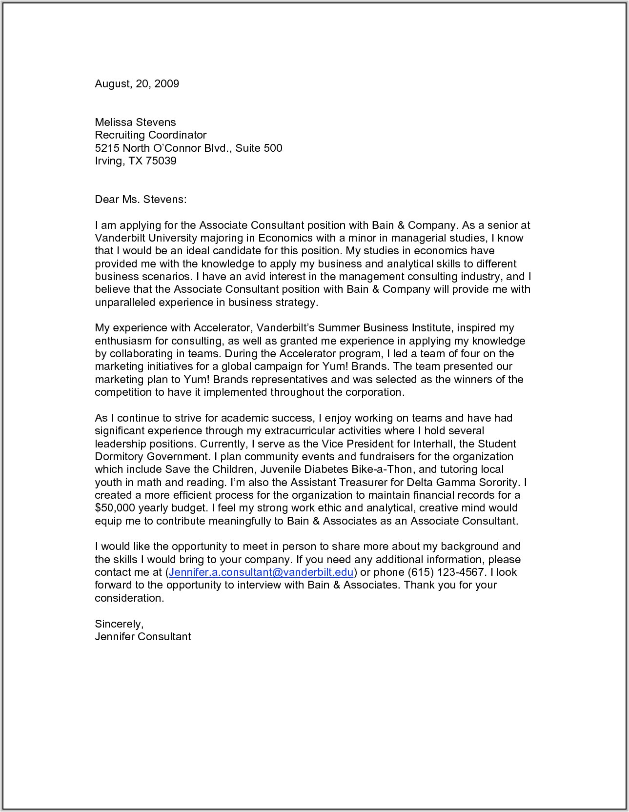 cover letter job recruitment consultant 4015