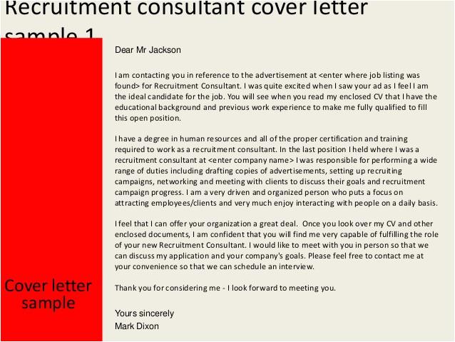 recruitment consultant cover letter