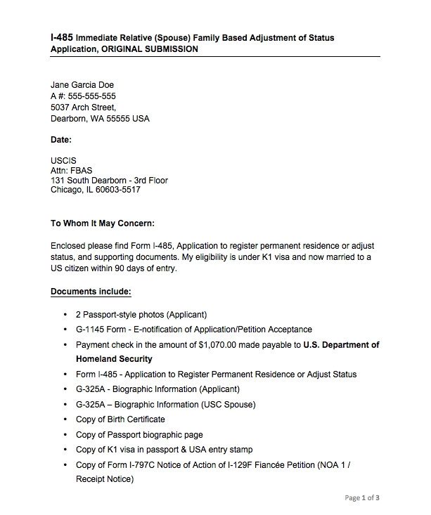 cover letter for removal of conditional status