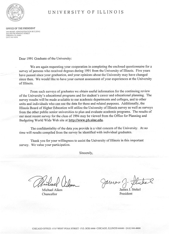 Cover Letter for Research Questionnaire University Of Illinois Gt University Office for Planning