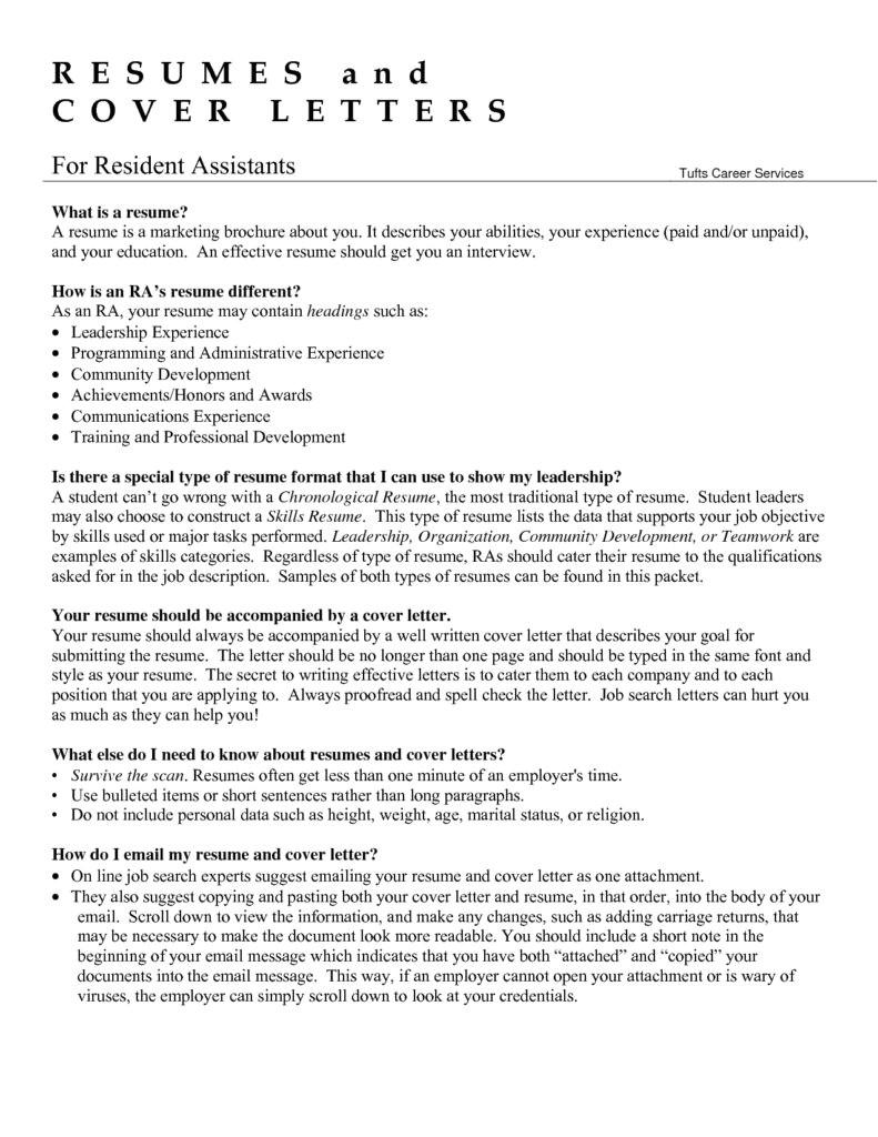 recommendation letter for resident advisor