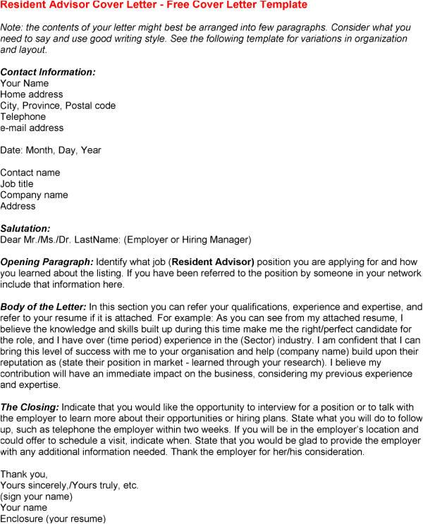 resident advisor cover letter