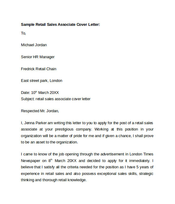 sample retail cover letter template example