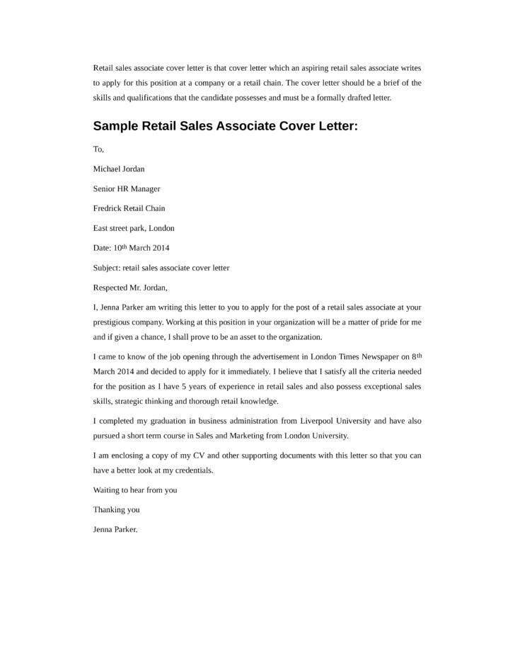 basic retail sales associate cover letter samples templates