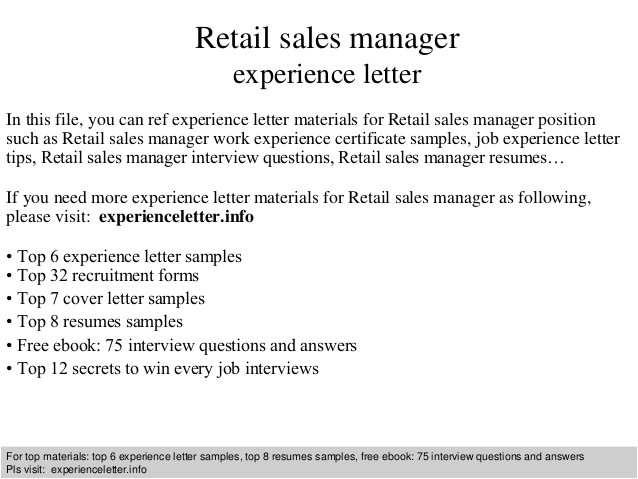 retail sales manager experience letter