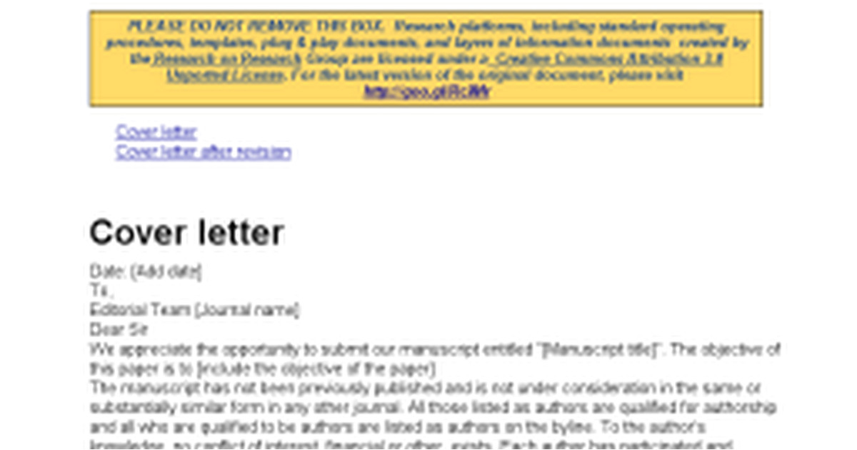 Cover Letter for Revised Manuscript Sample Sample Cover Letter for Submission Of Revised Manuscript