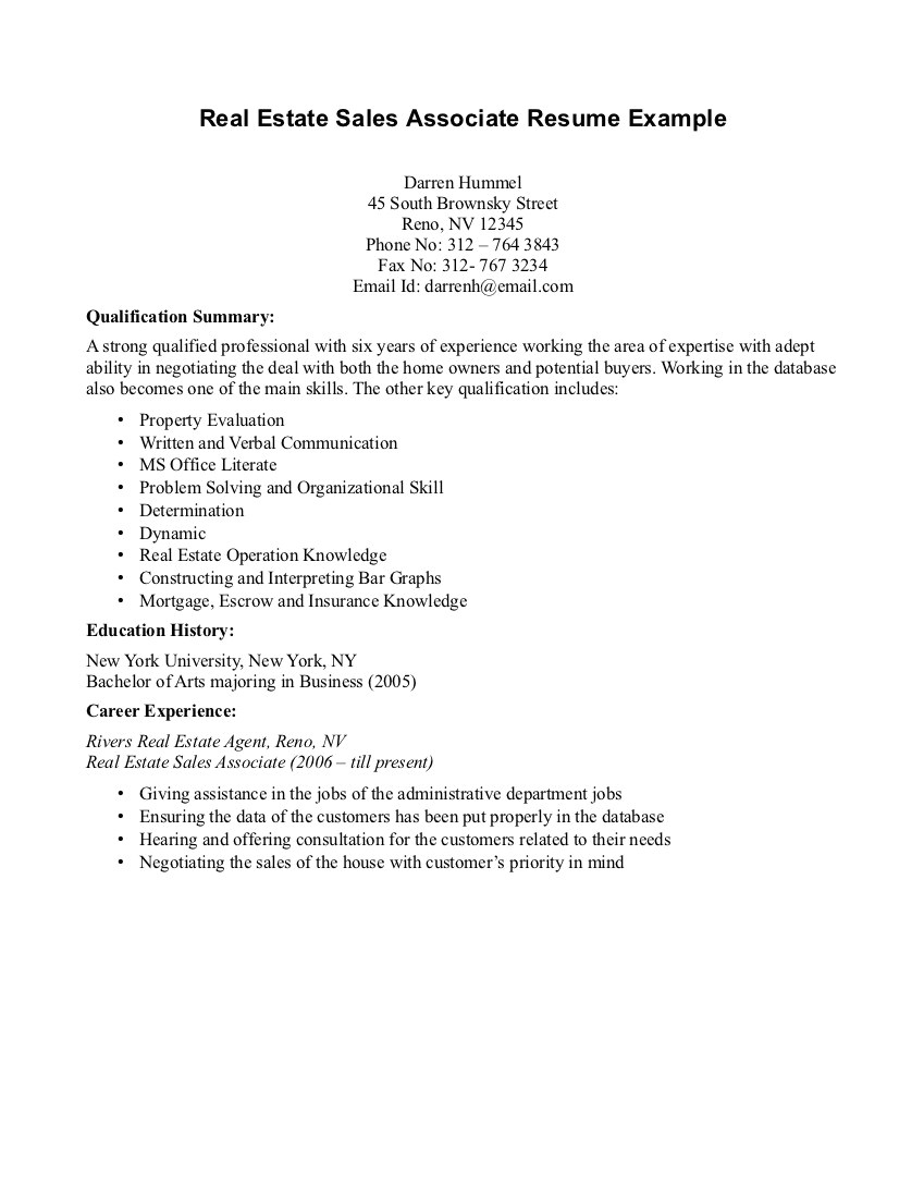 sample resume for sales associate without experience