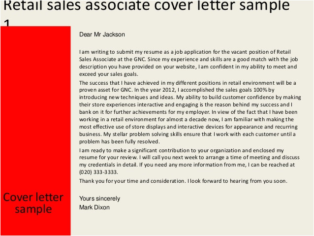 cover letter for retail sales no experience