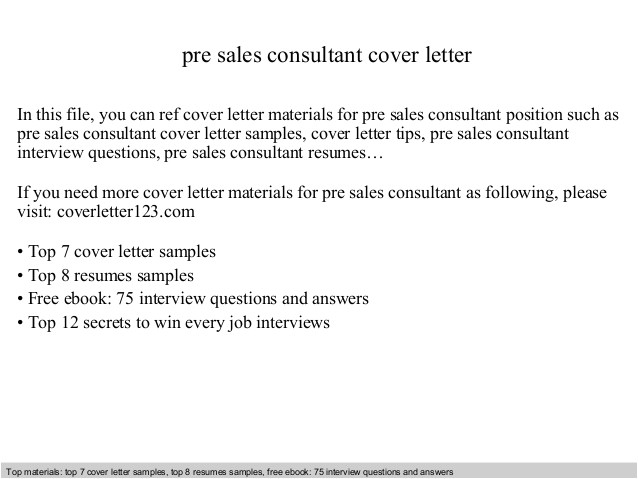 Cover Letter for Sales Consultant with No Experience Pre Sales Consultant Cover Letter