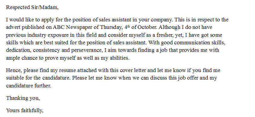 cover letter for sales assistant with no experience