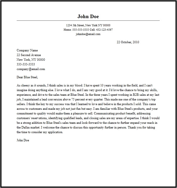 Cover Letter for Sales Person Sales Representative Cover Letter Samples Letter Of