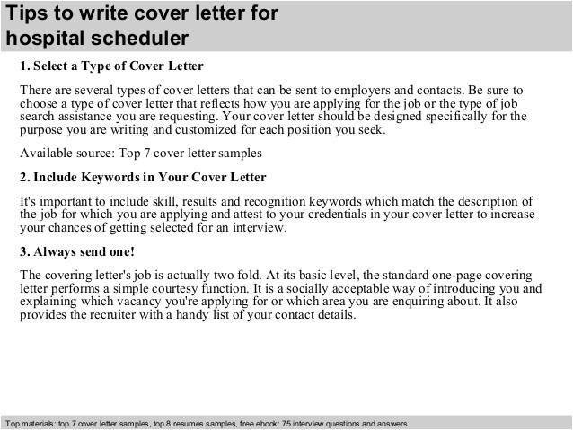 hospital scheduler cover letter 39286651