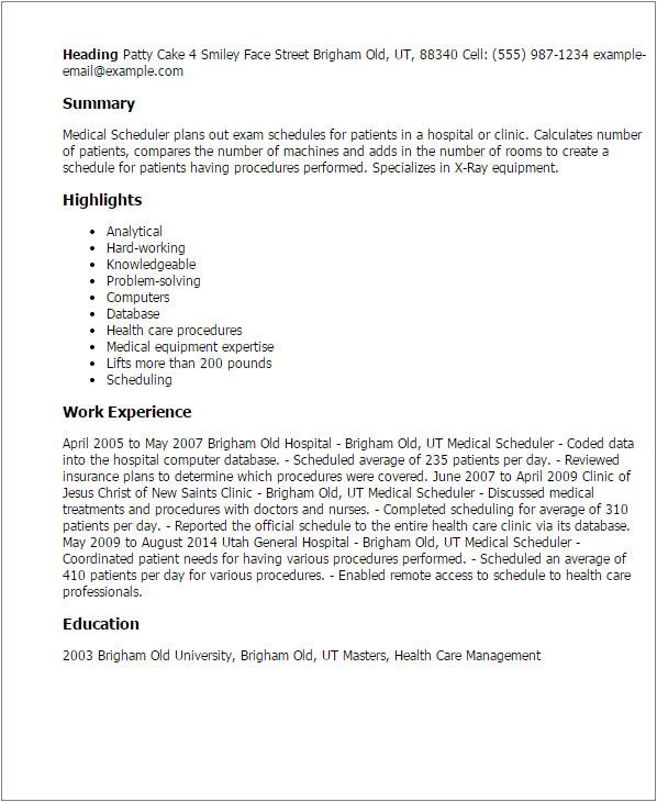 Cover Letter for Scheduler Medical Scheduler Resume Template Best Design Tips