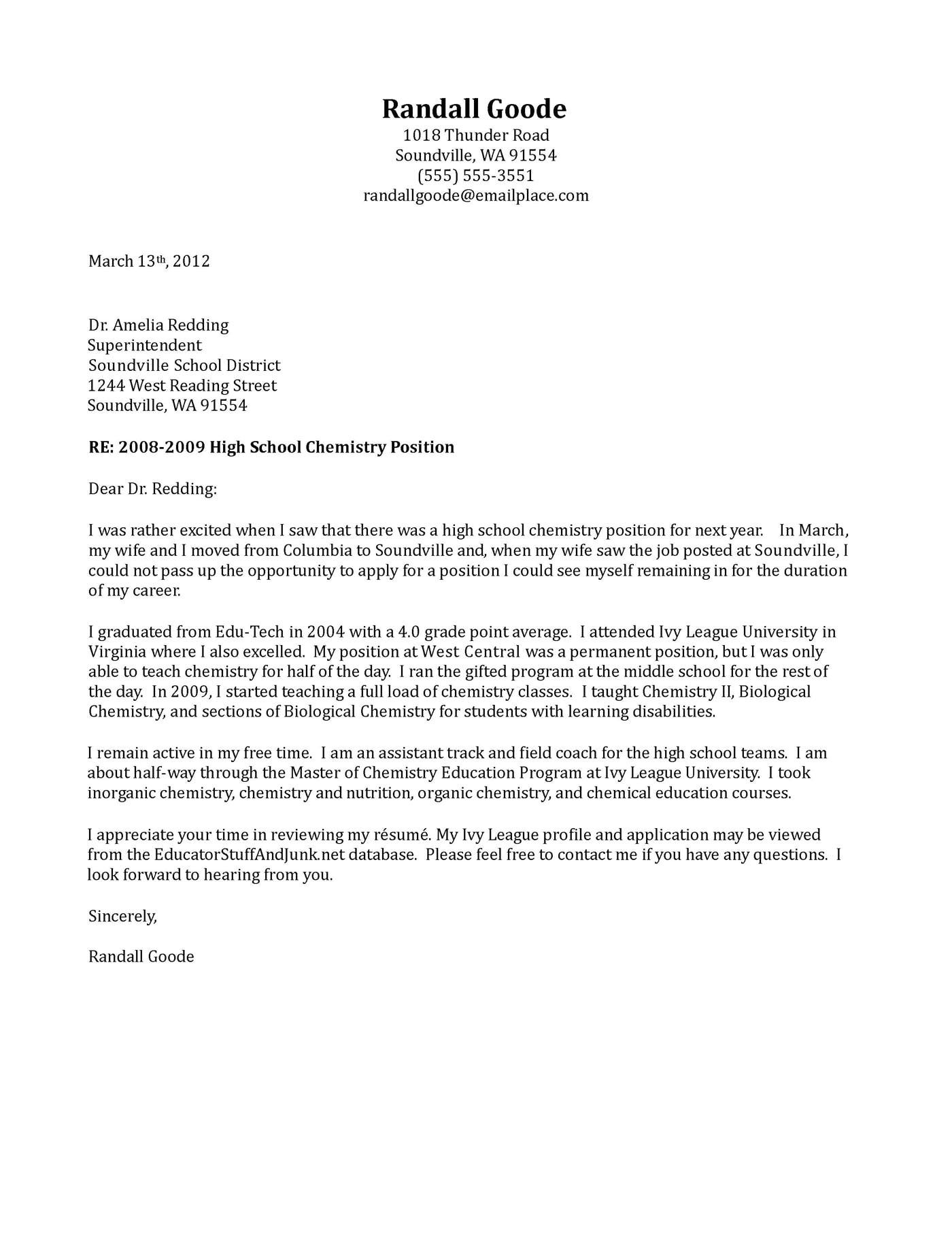 example of letter to school district