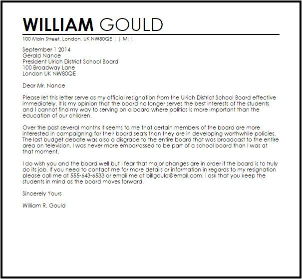 school board resignation letter