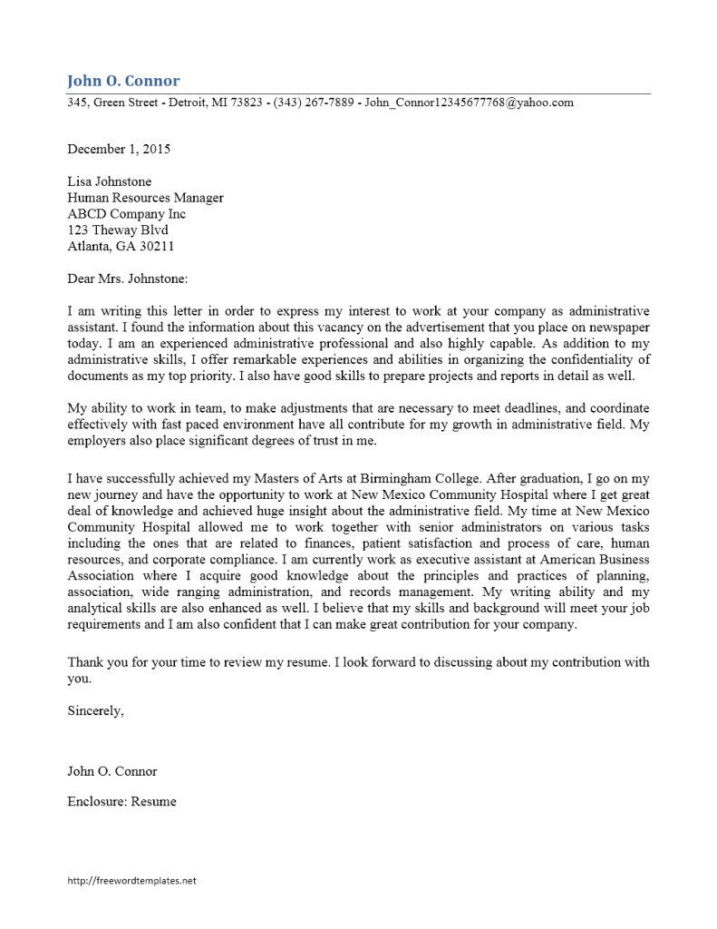 Cover Letter for School Office assistant Administrative assistant Cover Letter