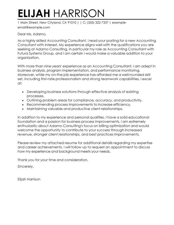 Cover Letter for Sending Resume to Consultants Best Consultant Cover Letter Examples Livecareer