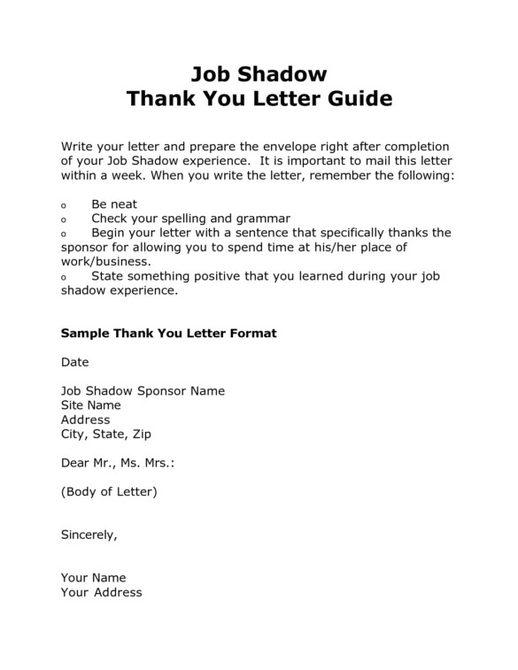 sample job shadow thank you letter