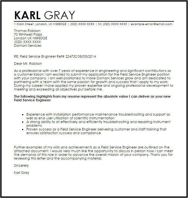 Cover Letter for Site Engineer Field Service Engineer Cover Letter Sample Cover Letter