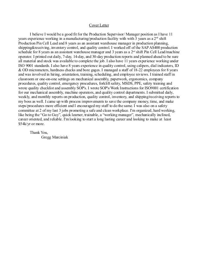 production supervisor cover letter 49883213
