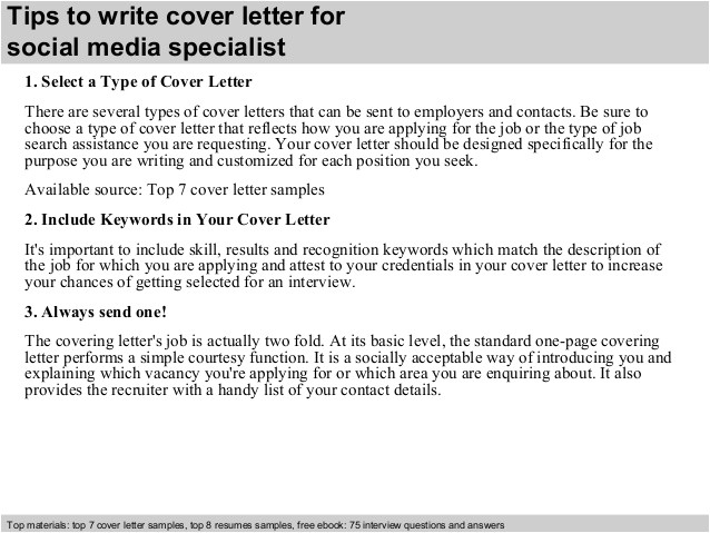Cover Letter for social Media Specialist social Media Specialist Cover Letter